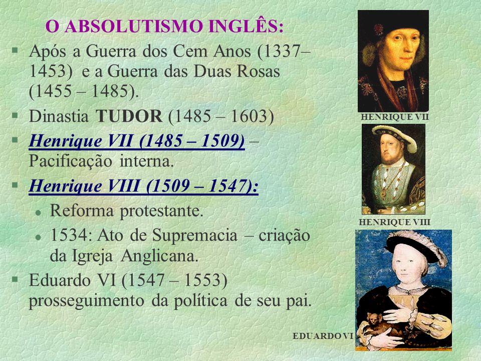 O ABSOLUTISMO INGLÊS: §Após a Guerra dos Cem Anos (1337– 1453) e a Guerra das Duas Rosas (1455 – 1485). §Dinastia TUDOR (1485 – 1603) §Henrique VII (1