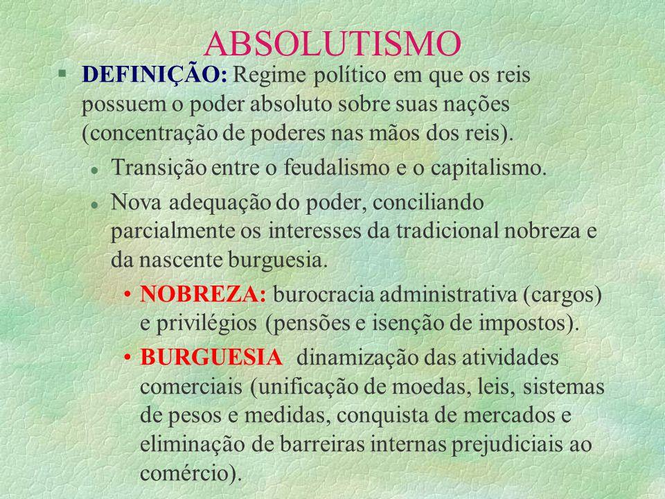 ABSOLUTISMO §QUANDO: aproximadamente entre os séculos XV e XVIII.