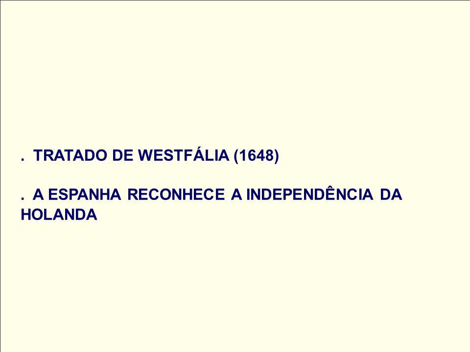 . TRATADO DE WESTFÁLIA (1648). A ESPANHA RECONHECE A INDEPENDÊNCIA DA HOLANDA