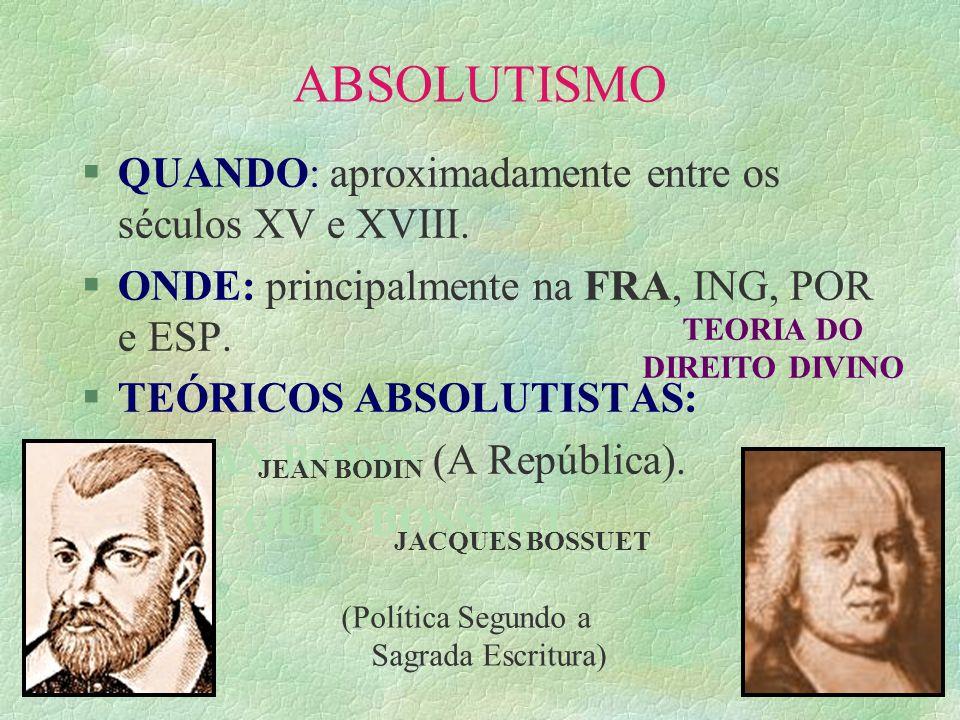 O ABSOLUTISMO INGLÊS: §Após a Guerra dos Cem Anos (1337– 1453) e a Guerra das Duas Rosas (1455 – 1485).