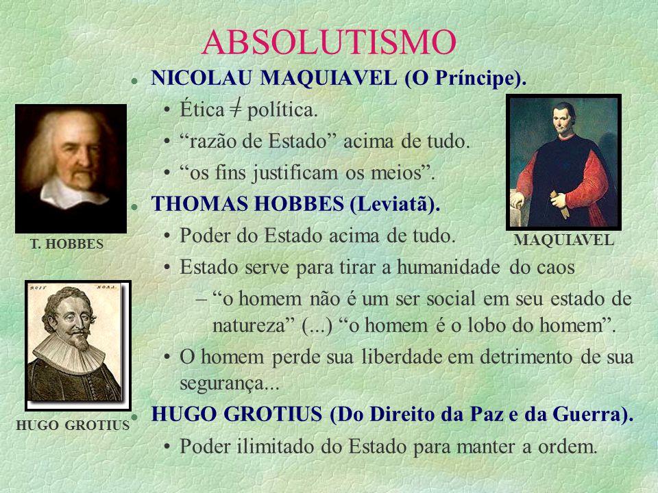 ABSOLUTISMO l NICOLAU MAQUIAVEL (O Príncipe). Ética = política. razão de Estado acima de tudo. os fins justificam os meios. l THOMAS HOBBES (Leviatã).