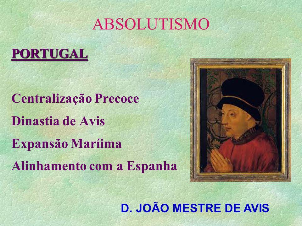 ABSOLUTISMO PORTUGAL Centralização Precoce Dinastia de Avis Expansão Maríima Alinhamento com a Espanha D. JOÃO MESTRE DE AVIS
