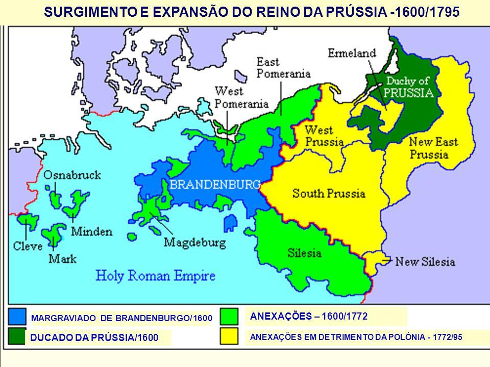 SURGIMENTO E EXPANSÃO DO REINO DA PRÚSSIA -1600/1795 MARGRAVIADO DE BRANDENBURGO/1600 DUCADO DA PRÚSSIA/1600 ANEXAÇÕES – 1600/1772 ANEXAÇÕES EM DETRIM