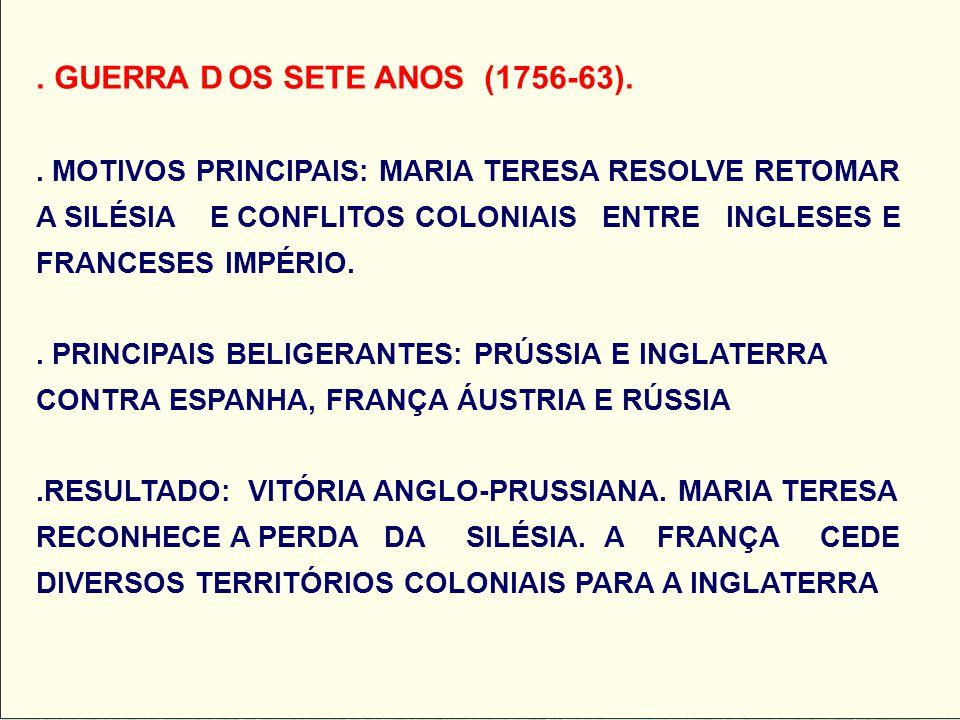 . GUERRA DOS SETE ANOS (1756-63).. MOTIVOS PRINCIPAIS: MARIA TERESA RESOLVE RETOMAR A SILÉSIA E CONFLITOS COLONIAIS ENTRE INGLESES E FRANCESES IMPÉRIO