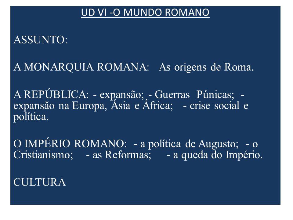 UD VI -O MUNDO ROMANO ASSUNTO: A MONARQUIA ROMANA: As origens de Roma. A REPÚBLICA: - expansão; - Guerras Púnicas; - expansão na Europa, Ásia e África
