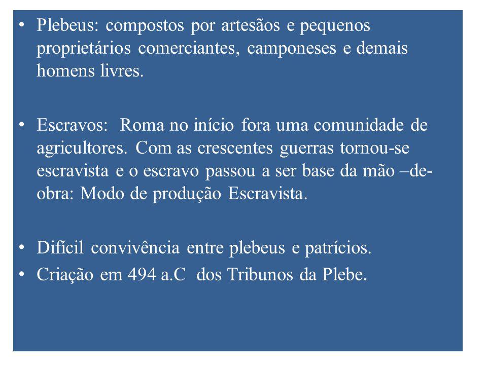 Plebeus: compostos por artesãos e pequenos proprietários comerciantes, camponeses e demais homens livres. Escravos: Roma no início fora uma comunidade