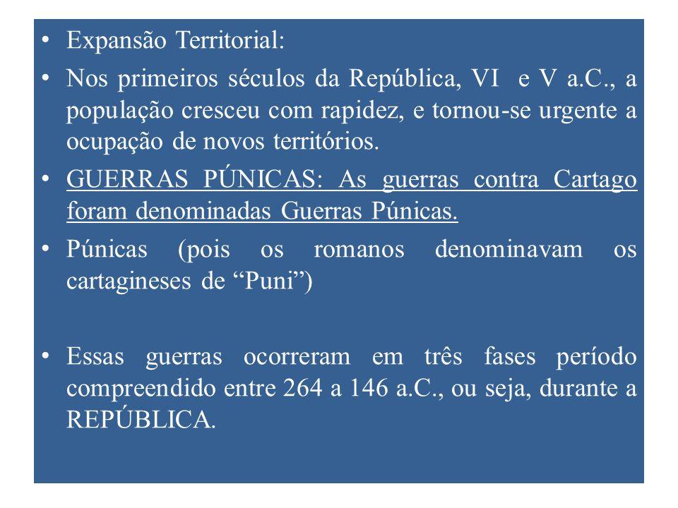 Expansão Territorial: Nos primeiros séculos da República, VI e V a.C., a população cresceu com rapidez, e tornou-se urgente a ocupação de novos territórios.
