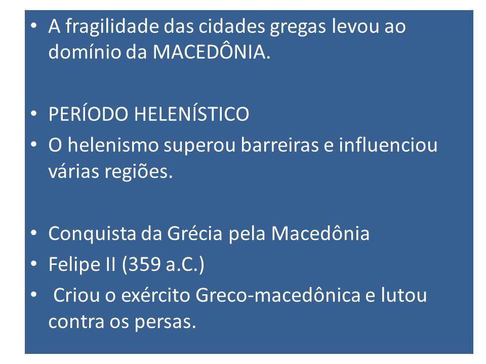 A fragilidade das cidades gregas levou ao domínio da MACEDÔNIA.