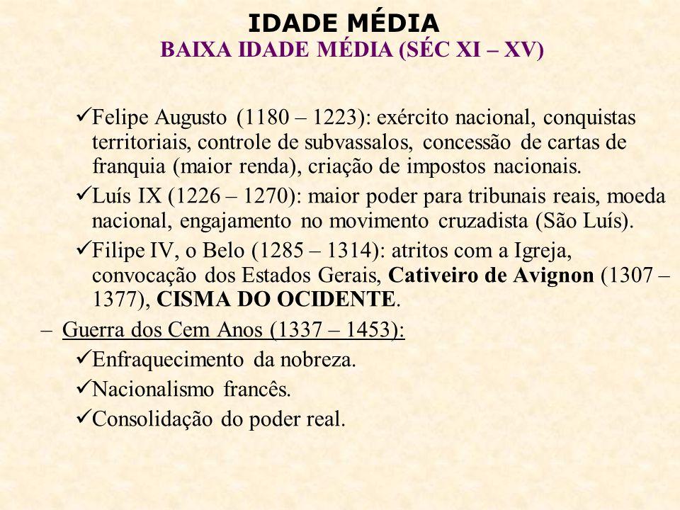 IDADE MÉDIA BAIXA IDADE MÉDIA (SÉC XI – XV) A monarquia inglesa: –Enfraquecimento da nobreza.