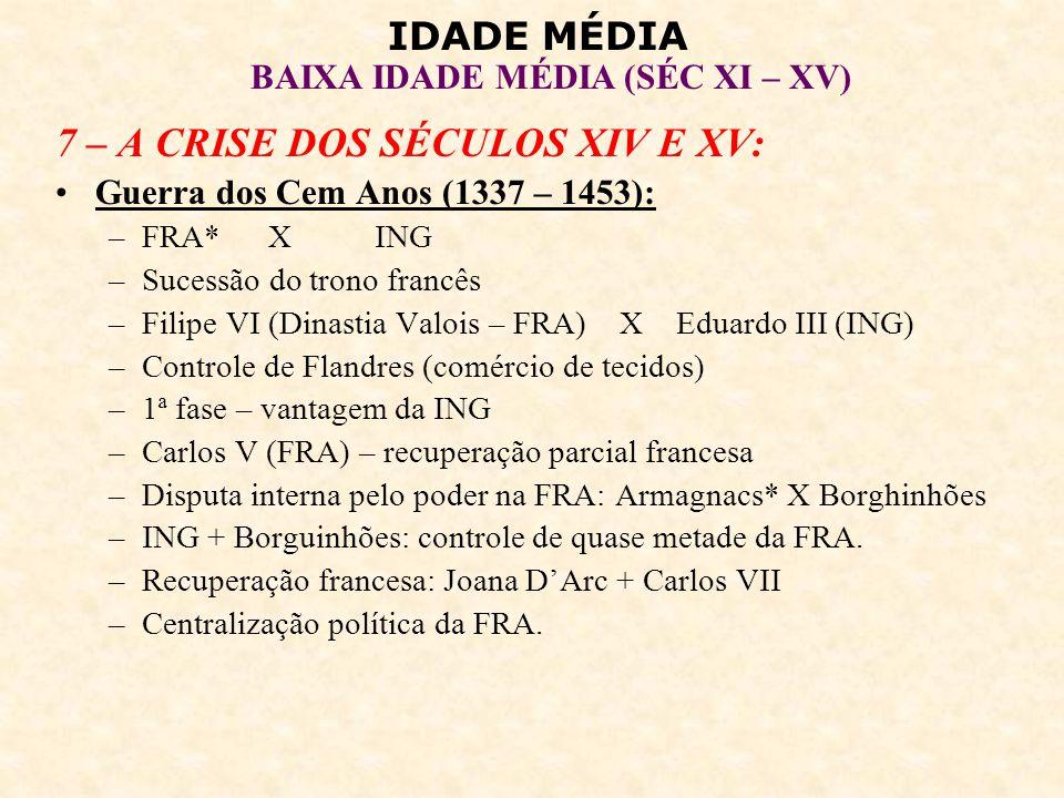 IDADE MÉDIA BAIXA IDADE MÉDIA (SÉC XI – XV) Peste Negra (1347 – 1350): –Peste bubônica.
