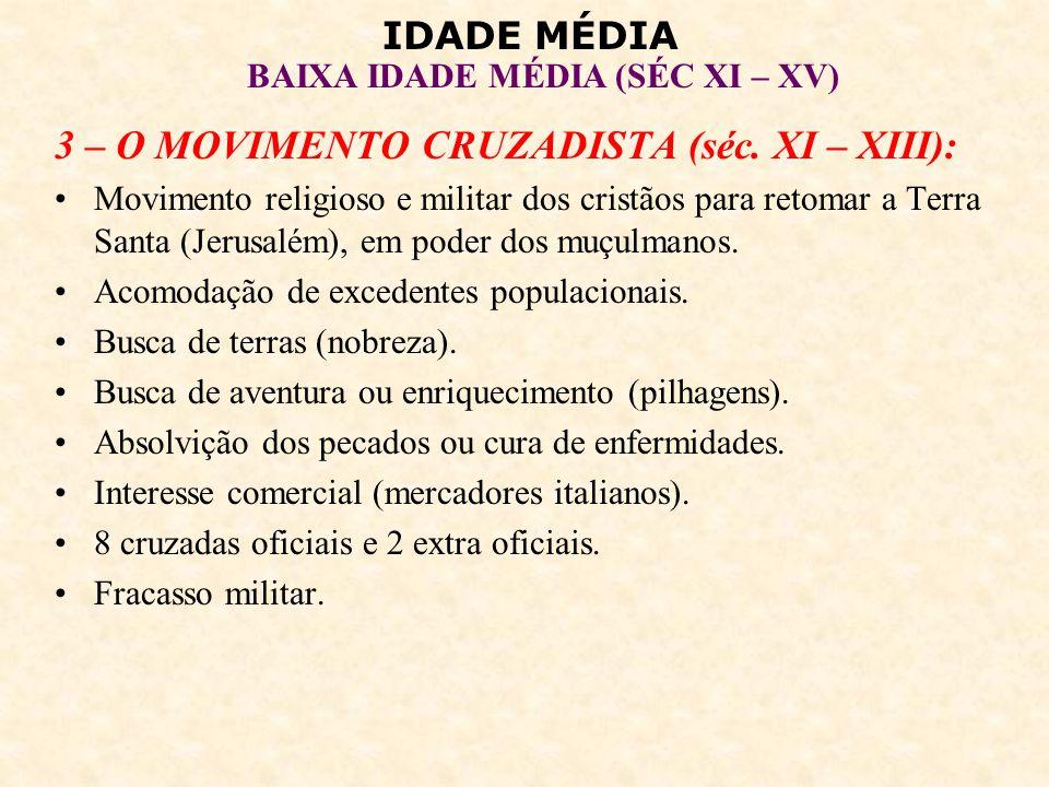 IDADE MÉDIA BAIXA IDADE MÉDIA (SÉC XI – XV) Sucesso comercial (reabertura do Mar Mediterrâneo e das rotas de comércio entre o Oriente e o Ocidente).