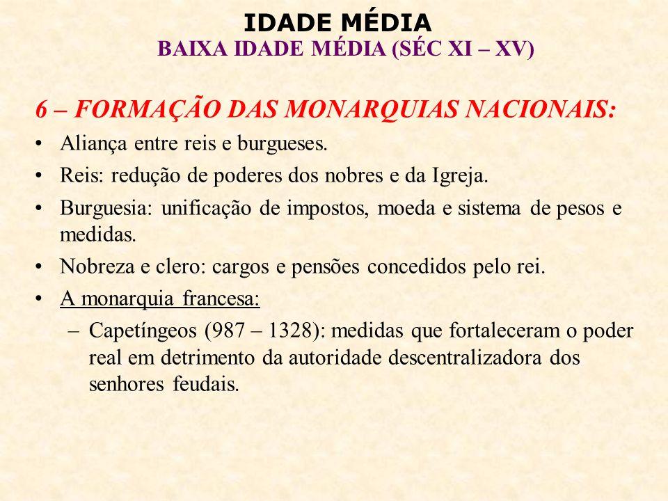 IDADE MÉDIA BAIXA IDADE MÉDIA (SÉC XI – XV) Felipe Augusto (1180 – 1223): exército nacional, conquistas territoriais, controle de subvassalos, concessão de cartas de franquia (maior renda), criação de impostos nacionais.