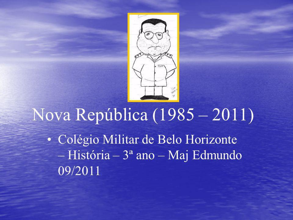 Nova República (1985 – 2011) Colégio Militar de Belo Horizonte – História – 3ª ano – Maj Edmundo 09/2011