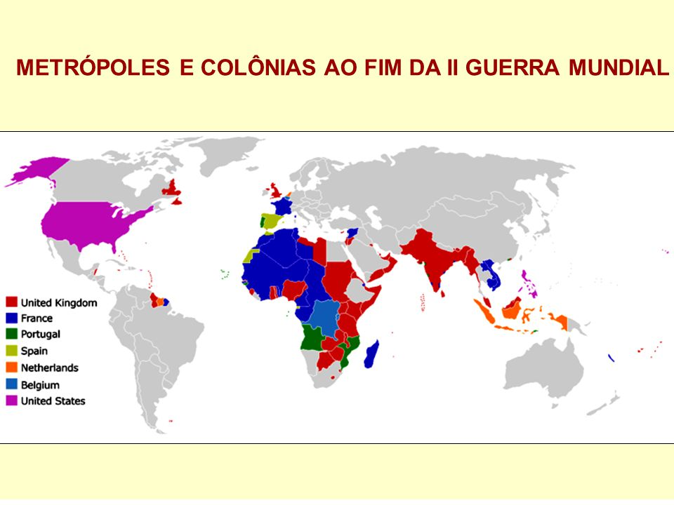METRÓPOLES E COLÔNIAS AO FIM DA II GUERRA MUNDIAL