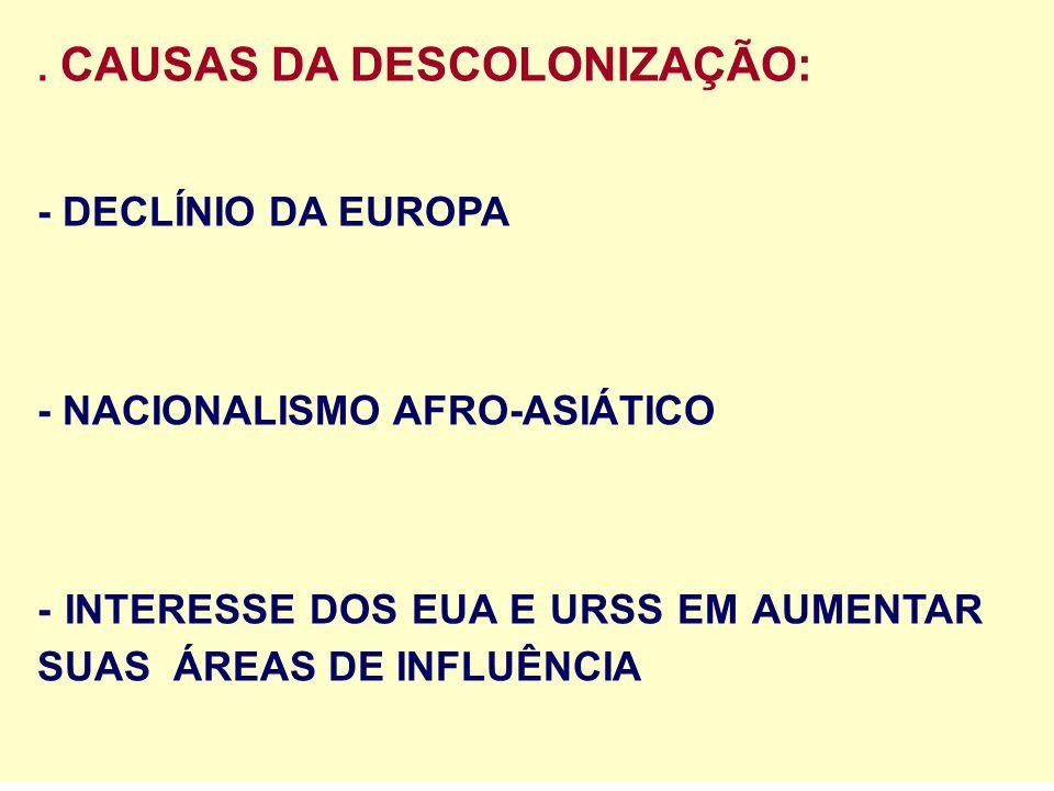 . CAUSAS DA DESCOLONIZAÇÃO: - DECLÍNIO DA EUROPA - NACIONALISMO AFRO-ASIÁTICO - INTERESSE DOS EUA E URSS EM AUMENTAR SUAS ÁREAS DE INFLUÊNCIA