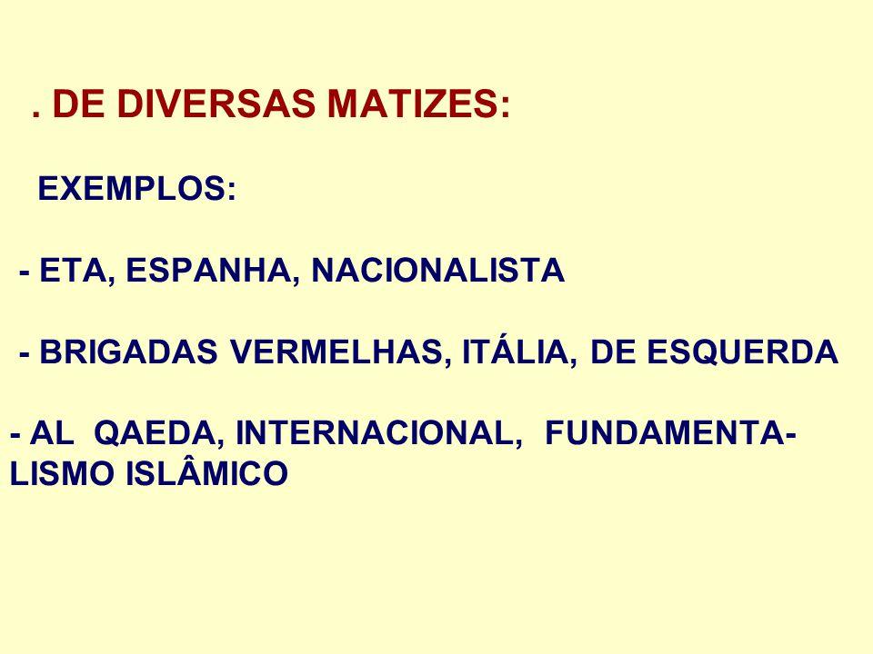 . DE DIVERSAS MATIZES: EXEMPLOS: - ETA, ESPANHA, NACIONALISTA - BRIGADAS VERMELHAS, ITÁLIA, DE ESQUERDA - AL QAEDA, INTERNACIONAL, FUNDAMENTA- LISMO I