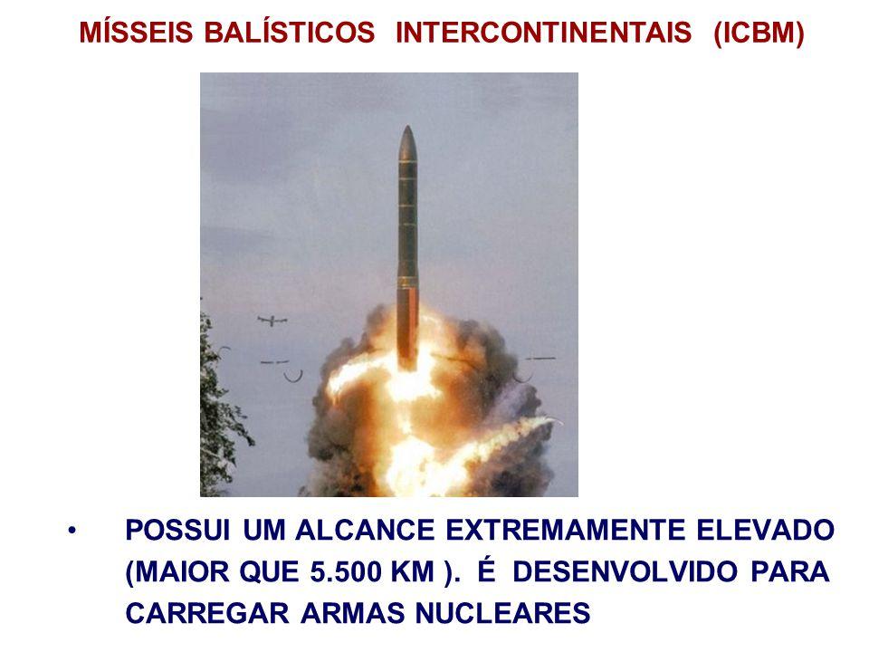 POSSUI UM ALCANCE EXTREMAMENTE ELEVADO (MAIOR QUE 5.500 KM ). É DESENVOLVIDO PARA CARREGAR ARMAS NUCLEARES MÍSSEIS BALÍSTICOS INTERCONTINENTAIS (ICBM)