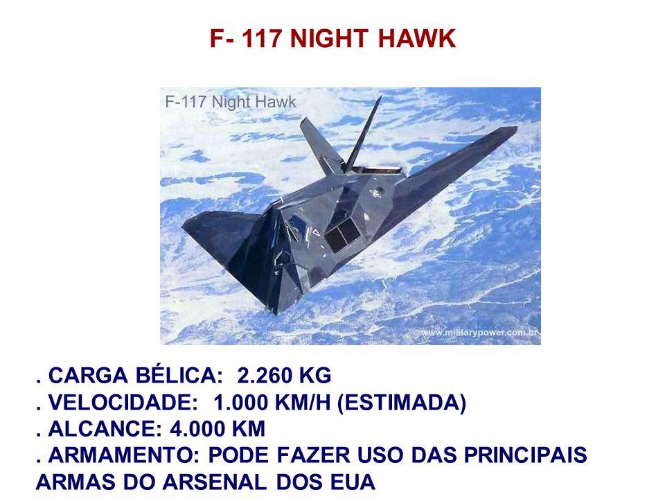. CARGA BÉLICA: 2.260 KG. VELOCIDADE: 1.000 KM/H (ESTIMADA). ALCANCE: 4.000 KM. ARMAMENTO: PODE FAZER USO DAS PRINCIPAIS ARMAS DO ARSENAL DOS EUA F- 1