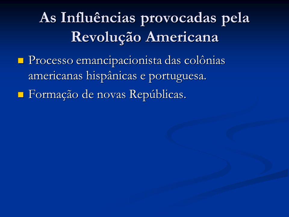 As Influências provocadas pela Revolução Americana Processo emancipacionista das colônias americanas hispânicas e portuguesa. Processo emancipacionist