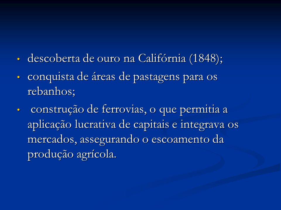 descoberta de ouro na Califórnia (1848); descoberta de ouro na Califórnia (1848); conquista de áreas de pastagens para os rebanhos; conquista de áreas de pastagens para os rebanhos; construção de ferrovias, o que permitia a aplicação lucrativa de capitais e integrava os mercados, assegurando o escoamento da produção agrícola.