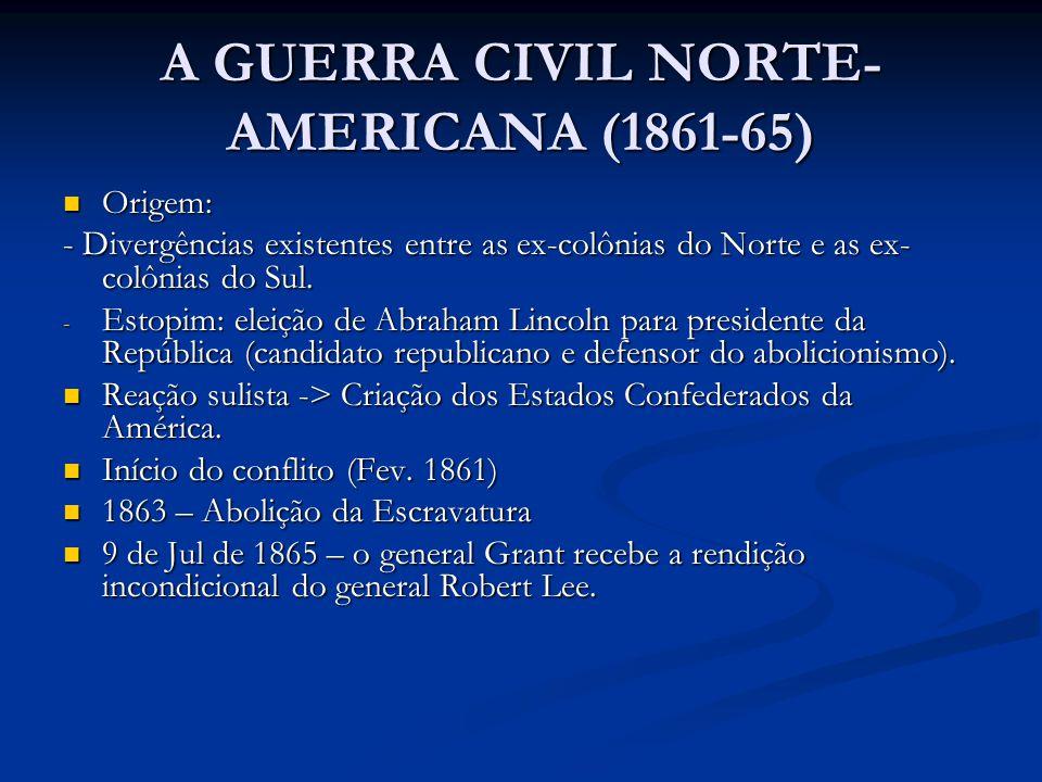 A GUERRA CIVIL NORTE- AMERICANA (1861-65) Origem: Origem: - Divergências existentes entre as ex-colônias do Norte e as ex- colônias do Sul. - Estopim: