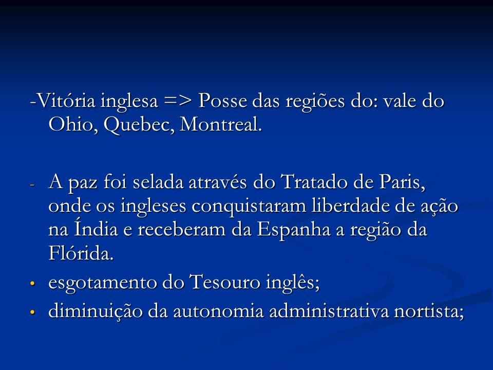-Vitória inglesa => Posse das regiões do: vale do Ohio, Quebec, Montreal. - A paz foi selada através do Tratado de Paris, onde os ingleses conquistara