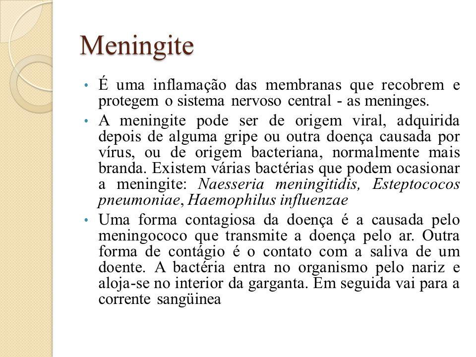 Meningite É uma inflamação das membranas que recobrem e protegem o sistema nervoso central - as meninges. A meningite pode ser de origem viral, adquir