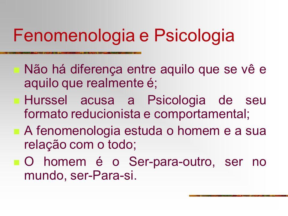 Fenomenologia e Psicologia Não há diferença entre aquilo que se vê e aquilo que realmente é; Hurssel acusa a Psicologia de seu formato reducionista e