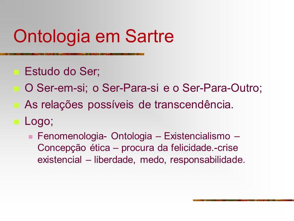 Ontologia em Sartre Estudo do Ser; O Ser-em-si; o Ser-Para-si e o Ser-Para-Outro; As relações possíveis de transcendência. Logo; Fenomenologia- Ontolo