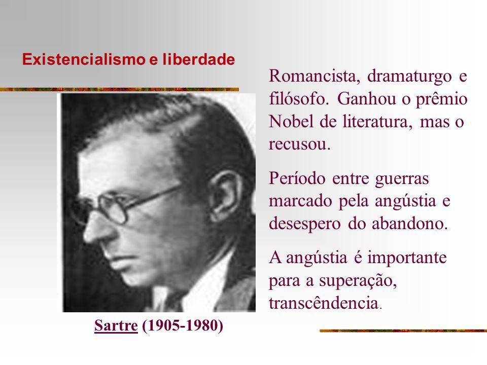 Existencialismo e liberdade Sartre (1905-1980) Romancista, dramaturgo e filósofo. Ganhou o prêmio Nobel de literatura, mas o recusou. Período entre gu