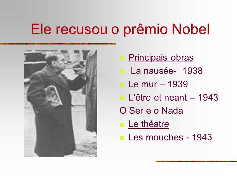 Ele recusou o prêmio Nobel Principais obras La nausée- 1938 Le mur – 1939 Lêtre et neant – 1943 O Ser e o Nada Le théatre Les mouches - 1943
