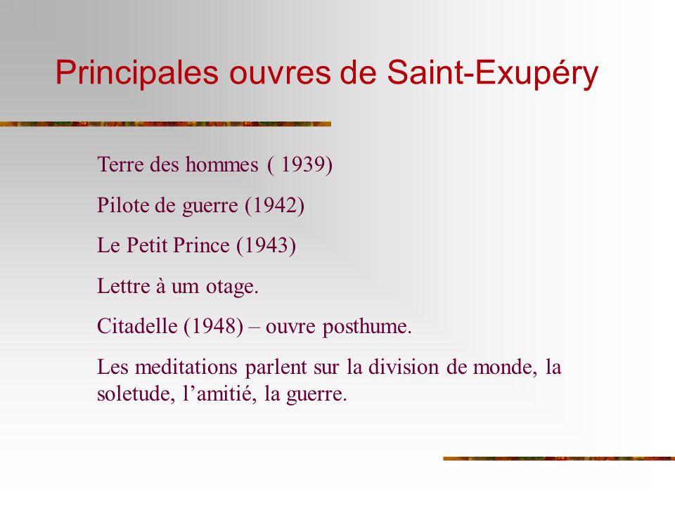 Principales ouvres de Saint-Exupéry Terre des hommes ( 1939) Pilote de guerre (1942) Le Petit Prince (1943) Lettre à um otage. Citadelle (1948) – ouvr