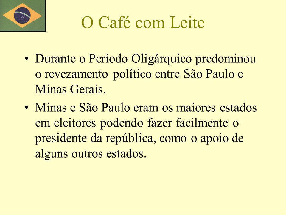 O Café com Leite Durante o Período Oligárquico predominou o revezamento político entre São Paulo e Minas Gerais.