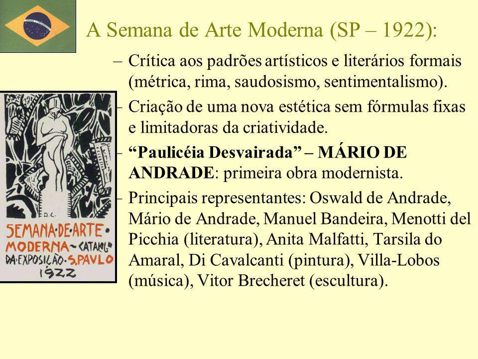 A Semana de Arte Moderna (SP – 1922): –Crítica aos padrões artísticos e literários formais (métrica, rima, saudosismo, sentimentalismo). –Criação de u
