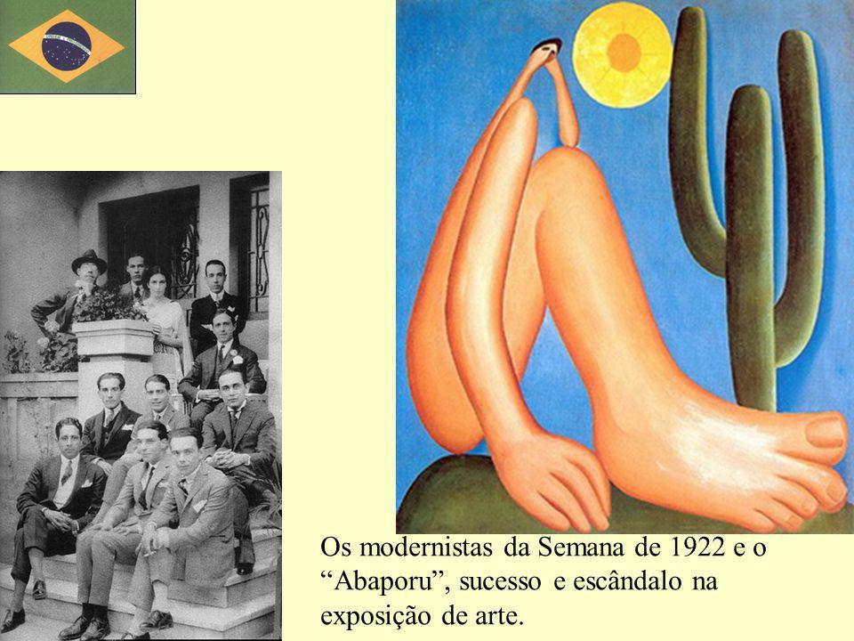 Os modernistas da Semana de 1922 e o Abaporu, sucesso e escândalo na exposição de arte.