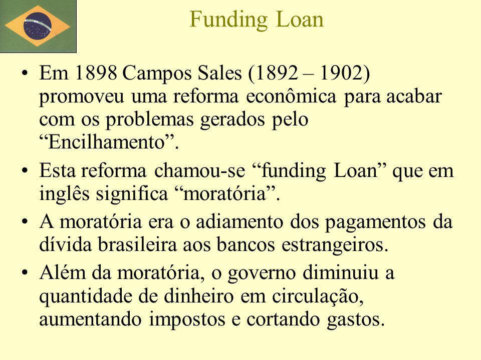 Funding Loan Em 1898 Campos Sales (1892 – 1902) promoveu uma reforma econômica para acabar com os problemas gerados pelo Encilhamento.