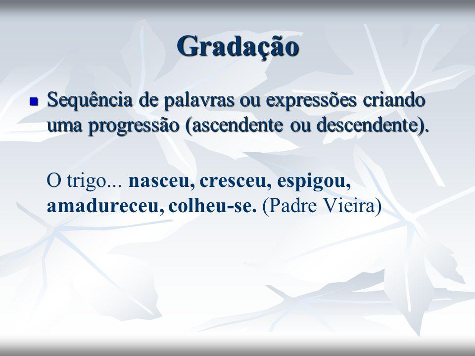 Gradação Sequência de palavras ou expressões criando uma progressão (ascendente ou descendente). Sequência de palavras ou expressões criando uma progr