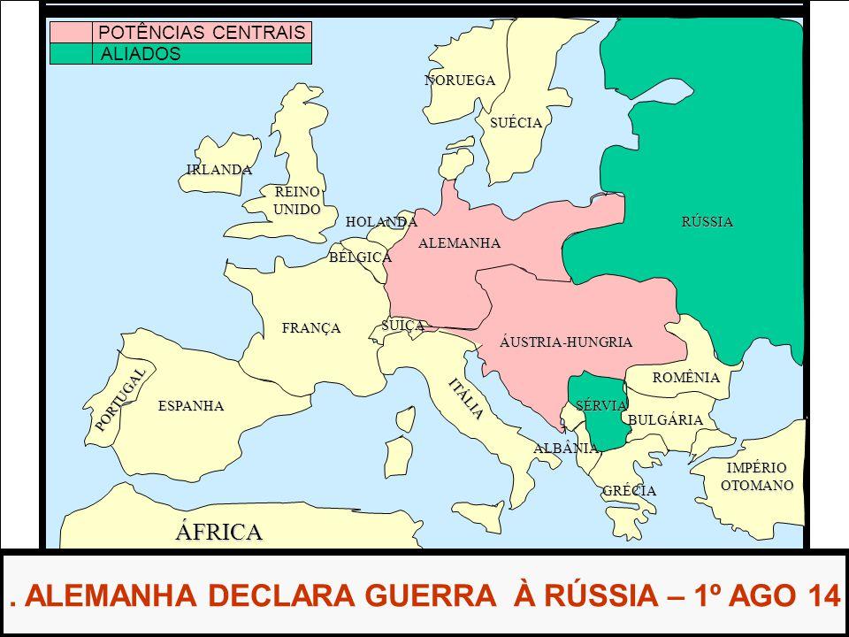 ÁFRICA ESPANHA FRANÇA ALEMANHA RÚSSIA ÁUSTRIA-HUNGRIA IMPÉRIOOTOMANO ITÁLIA REINOUNIDO PORTUGAL GRÉCIA BULGÁRIA ROMÊNIA SÉRVIA ALBÂNIA BÉLGICA HOLANDA SUÉCIA NORUEGA.