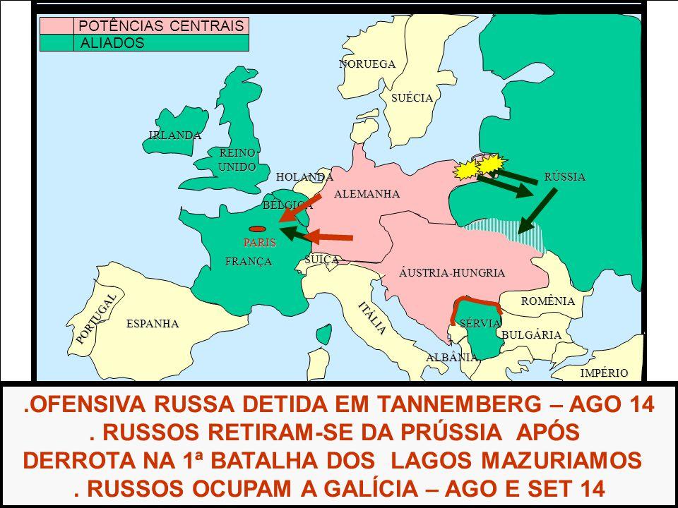 ÁFRICA ESPANHA FRANÇA ALEMANHA RÚSSIA ÁUSTRIA-HUNGRIA IMPÉRIOOTOMANO ITÁLIA REINOUNIDO PORTUGAL GRÉCIA BULGÁRIA ROMÊNIA SÉRVIA ALBÂNIA BÉLGICA HOLANDA SUÉCIA NORUEGA.OFENSIVA RUSSA DETIDA EM TANNEMBERG – AGO 14.