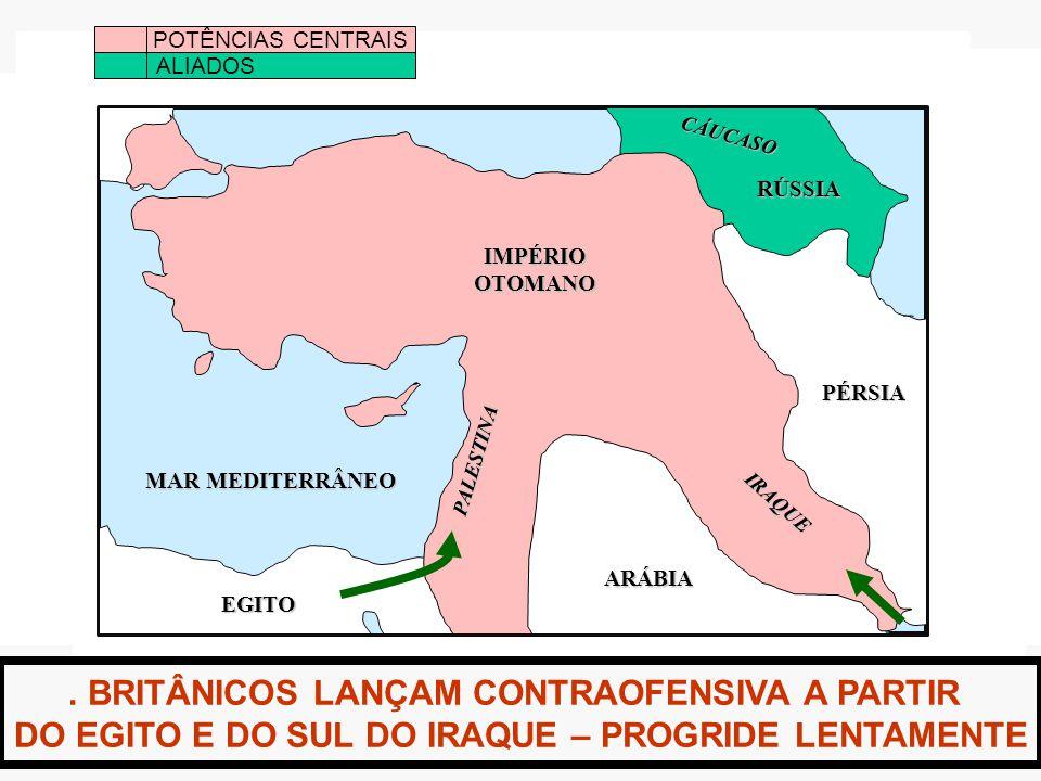 . BRITÂNICOS LANÇAM CONTRAOFENSIVA A PARTIR DO EGITO E DO SUL DO IRAQUE – PROGRIDE LENTAMENTE POTÊNCIAS CENTRAIS ALIADOS IMPÉRIOOTOMANO MAR MEDITERRÂNEO EGITO ARÁBIA PÉRSIA RÚSSIA IRAQUE PALESTINA CÁUCASO