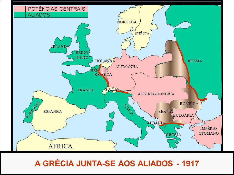 ÁFRICA ESPANHA FRANÇA ALEMANHA RÚSSIA ÁUSTRIA-HUNGRIA IMPÉRIOOTOMANO ITÁLIA REINOUNIDO PORTUGAL GRÉCIA BULGÁRIA SÉRVIA ALBÂNIA HOLANDA SUÉCIA NORUEGA A GRÉCIA JUNTA-SE AOS ALIADOS - 1917 IRLANDA SUÍÇA POTÊNCIAS CENTRAIS ALIADOS BÉLGICA BÉLGICA IMPÉRIOOTOMANO BULGÁRIA SÉRVIA ALBÂNIA ROMÊNIA