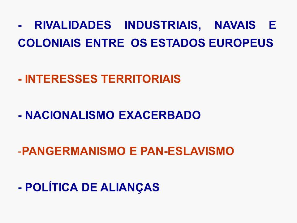 - RIVALIDADES INDUSTRIAIS, NAVAIS E COLONIAIS ENTRE OS ESTADOS EUROPEUS - INTERESSES TERRITORIAIS - NACIONALISMO EXACERBADO -PANGERMANISMO E PAN-ESLAVISMO - POLÍTICA DE ALIANÇAS