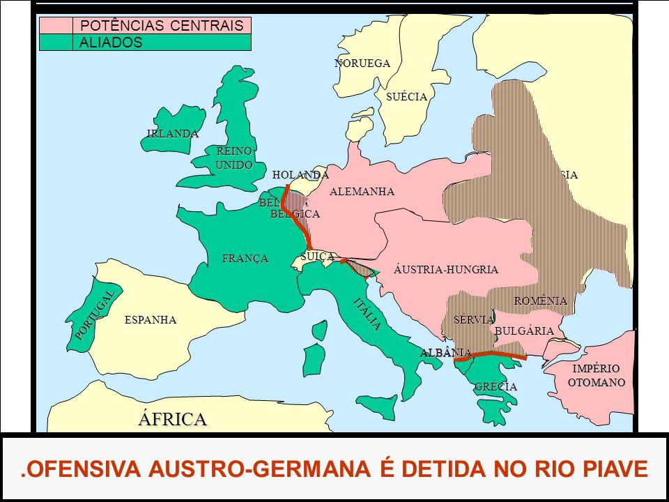 ÁFRICA ESPANHA FRANÇA ALEMANHA RÚSSIA ÁUSTRIA-HUNGRIA IMPÉRIOOTOMANO ITÁLIA REINOUNIDO PORTUGAL GRÉCIA BULGÁRIA ROMÊNIA SÉRVIA ALBÂNIA HOLANDA SUÉCIA NORUEGA.OFENSIVA AUSTRO-GERMANA É DETIDA NO RIO PIAVE IRLANDA SUÍÇA POTÊNCIAS CENTRAIS ALIADOS BÉLGICA BÉLGICA IMPÉRIOOTOMANO BULGÁRIA ROMÊNIA SÉRVIA ALBÂNIA ROMÊNIA