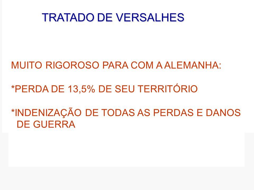 TRATADODEVERSALHES TRATADO DE VERSALHES MUITO RIGOROSO PARA COM A ALEMANHA: *PERDA DE 13,5% DE SEU TERRITÓRIO *INDENIZAÇÃO DE TODAS AS PERDAS E DANOS DE GUERRA
