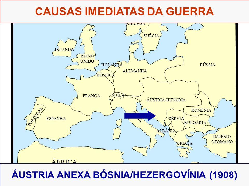 ÁFRICA ESPANHA FRANÇA ALEMANHA RÚSSIA ÁUSTRIA-HUNGRIA IMPÉRIOOTOMANO ITÁLIA REINOUNIDO PORTUGAL GRÉCIA BULGÁRIA ROMÊNIA SÉRVIA ALBÂNIA BÉLGICA HOLANDA SUÉCIA NORUEGA ÁUSTRIA ANEXA BÓSNIA/HEZERGOVÍNIA (1908) IRLANDA SUÍÇA CAUSAS IMEDIATAS DA GUERRA