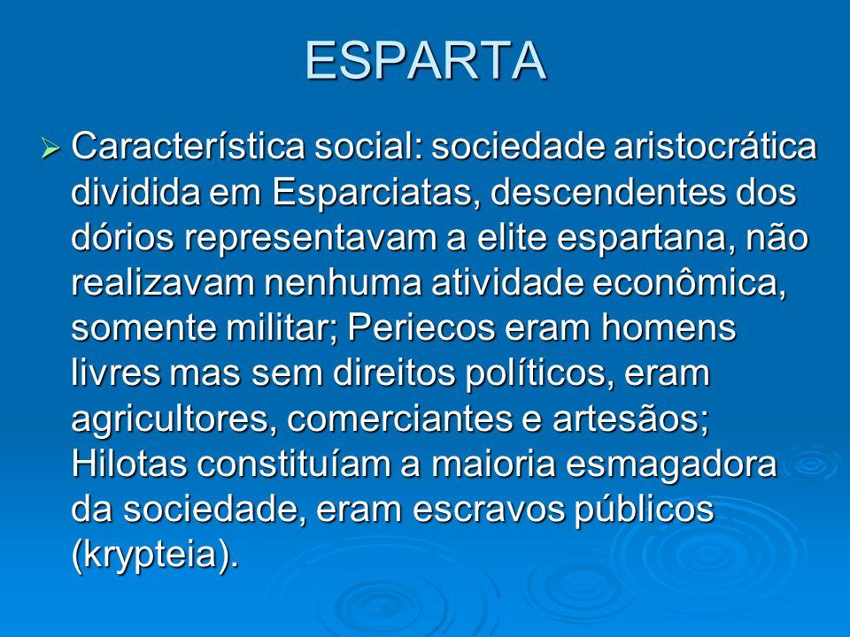 ESPARTA Característica social: sociedade aristocrática dividida em Esparciatas, descendentes dos dórios representavam a elite espartana, não realizava