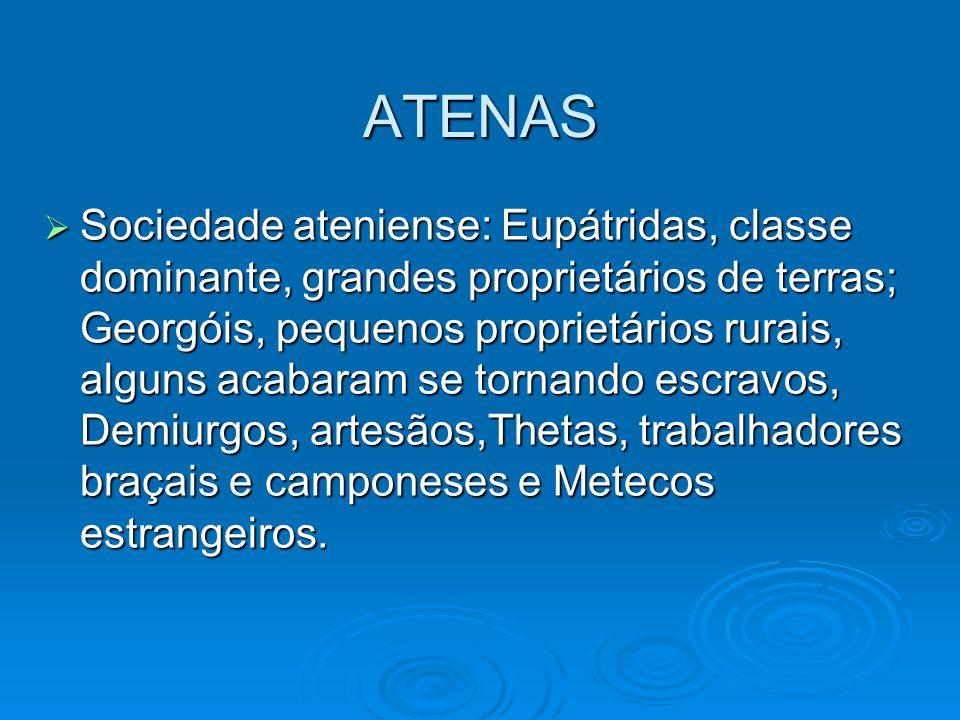 ATENAS Sociedade ateniense: Eupátridas, classe dominante, grandes proprietários de terras; Georgóis, pequenos proprietários rurais, alguns acabaram se