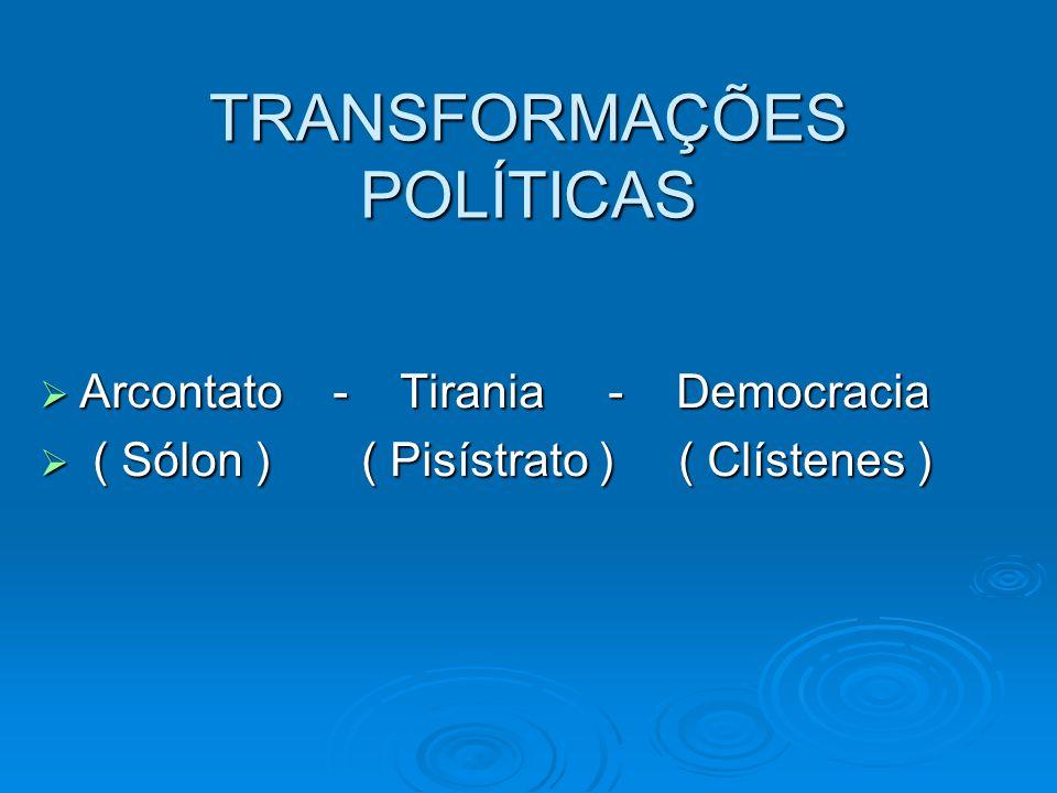 TRANSFORMAÇÕES POLÍTICAS Arcontato - Tirania - Democracia Arcontato - Tirania - Democracia ( Sólon ) ( Pisístrato ) ( Clístenes ) ( Sólon ) ( Pisístra