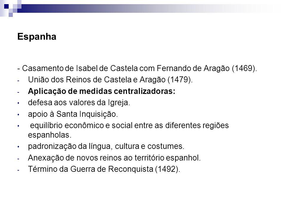 Espanha - Casamento de Isabel de Castela com Fernando de Aragão (1469). - União dos Reinos de Castela e Aragão (1479). - Aplicação de medidas centrali