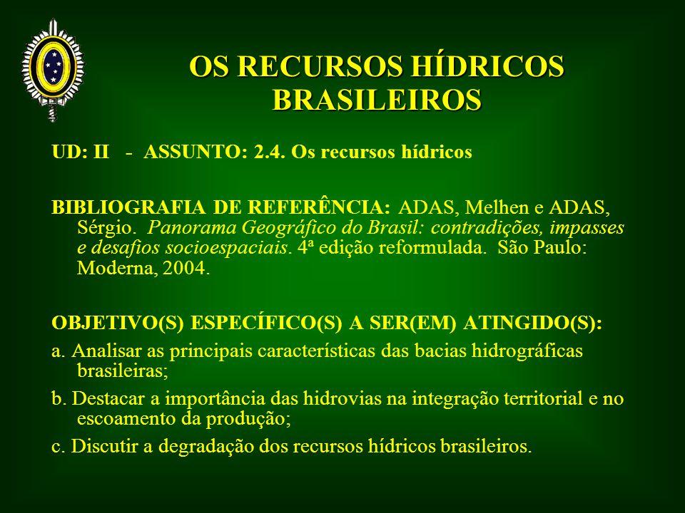 d) Bacia do Paraná – 875.000 km2 - a 2ª maior em área e em potencial hidrelétrico; - localiza-se na principal região geoeconômica do país, sendo a de maior aproveitamento hidrelétrico; - além de trechos planálticos, possui condições de navegabilidade a partir da construção de eclusas; - Hidrovia Tietê-Paraná (eclusas de Três Irmãos e Jupiá), liga cinco estados: PR, SP, MG, GO e MS – espinha dorsal do Mercosul; - Aqüífero Guarani – MS, GO, MG, SP, PR, SC e RS, além de Argentina, Paraguai e Uruguai – o maior manancial de água potável subterrânea do planeta (1.400.000 km 2 – 1.000.000 km 2 no Brasil) - 45 mil km 3
